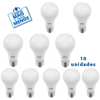 Kit Com 10 Lâmpadas Led Bulbo 9w Bivolt Luz Branca - Bbauer