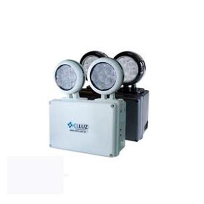 Luminária de Emergência Preta Led 12w 2 X 6w Luz Branca - Cl Luz