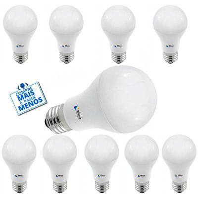 Kit Com 10 Lâmpadas Led Bulbo 12w Biv 3000k Luz Branca Amarelada Certificada - Bbauer