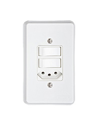 Conjunto Com 1 Interruptor Simples + 1 Paralelo + 1 Tomada 2p + T Pb Com Placa Branco - Prm702b - Schneider - Prime Toc