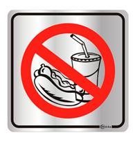 Placa de Aviso Proibido Comer e Beber 16x16cm - C16051 - Indika