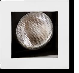 Spot de Embutir Quadrado Recuado Dirigível de Alumínio Para 1 Lâmpada Par20 de Até 50w Branco e Preto - Mf 130 Br/pt - Metal Técnica