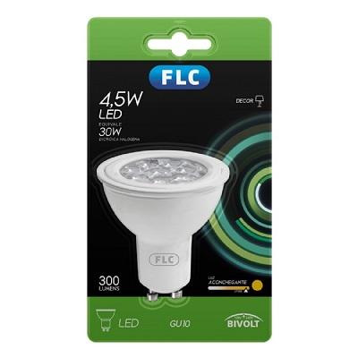 Lampada Led Dicroica Gu10 4,5w 2700k Luz Branca Amarelada 300 Lumens Certificada Com Soquete 04043308 Flc