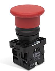Botão Cogumelo (tipo Soco) a Impulso 40mm - Steck - Código: Spfn2m4na