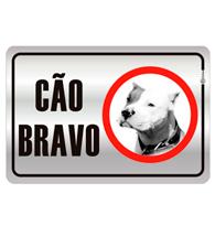 Placa de Aviso Cão Bravo Com Imagem 16x25cm - C25019 - Indika