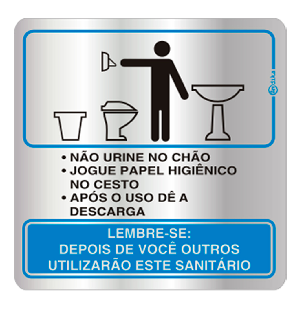 Placa de Procedimento Sanitário Masculino 16x16CM C16005 16x16  #057FC6 1050x1092 Aviso Para Banheiro Interditado