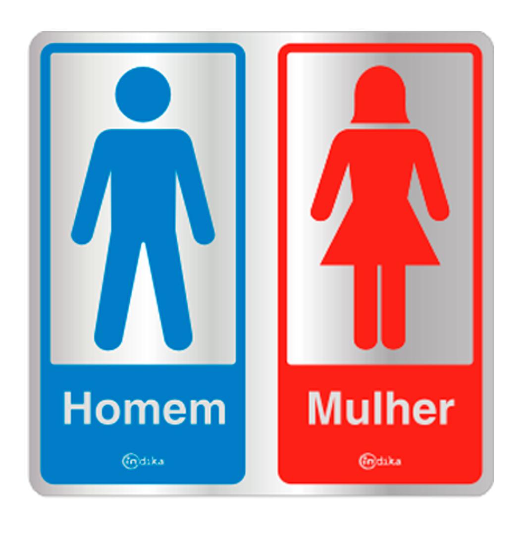 Placa de Aviso Sanitário MasculinoFeminino 16x16CM  C16007 16×16  Indika  -> Aviso De Banheiro Feminino Para Imprimir