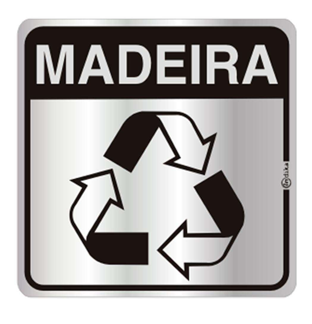Placa de Aviso Reciclagem Madeira 16x16CM C16029 Indika Santil #1B1310 1050x1092