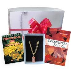Kit Dia das Mães 1 (Pingente dourado vermelho)