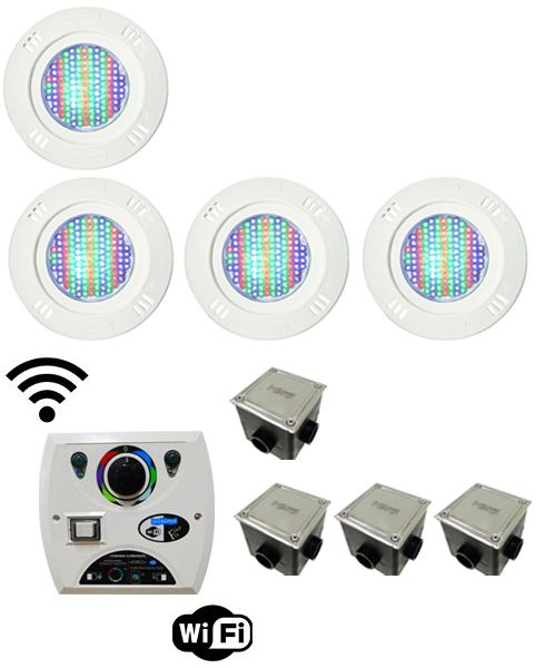 Kit Iluminação para Piscinas de até 32m² (4 Led Pool 61 RGB Pratic - 4 Caixas de Passagem Tampa Inox - 1 Comando Four Fix c/ Wi-Fi para Led )