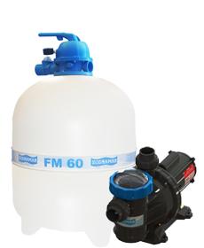 Filtro FM-60 e Bomba 1cv BM-100 Mono p/ piscinas de até 113 mil litros