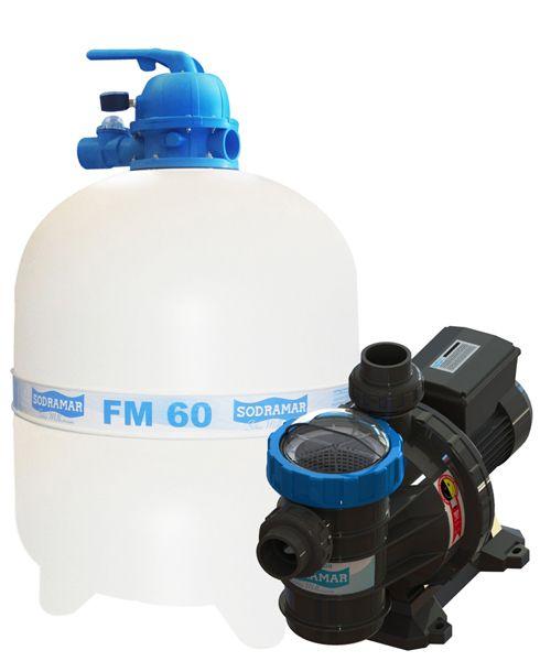Filtro FM-60 e Bomba 1cv BMC-100 Mono p/ piscinas de até 113 mil litros