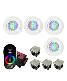 Kit Iluminação para Piscinas de até 32m² (4 9w RGB - SMD  - 4 Caixas de Passagem Tampa Inox - 1 Controle c/ Comando de Luminárias Led Touch)