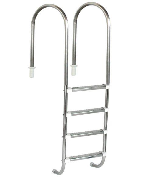 Escada Marinheiro 1 1/2´´ em Aço Inox 4 Degraus Anatômicos em Inox