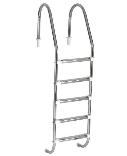 Escada Tradicional 1 1/2´´ em Aço Inox 5 Degraus Anatômicos em Inox