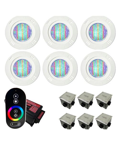 Kit Iluminação para Piscinas de até 48m² (6 Led 9w RGB - SMD  - 6 Caixas de Passagem Tampa Inox - 1 Controle c/ Comando de Luminárias Led Touch)