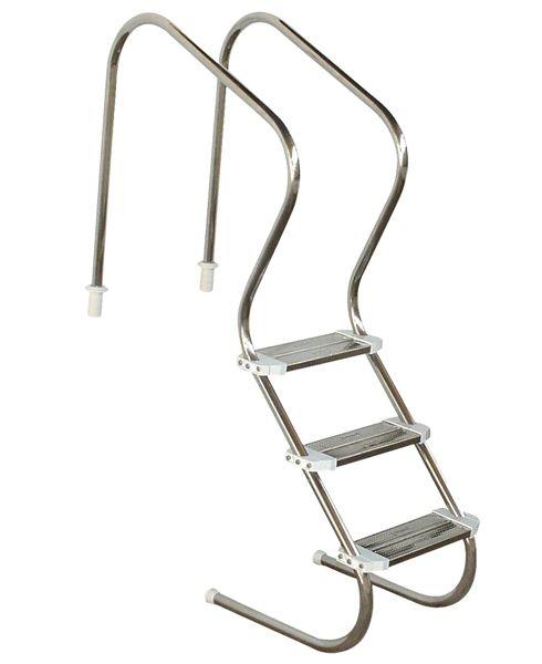 Escada em aço inox Comfort 2´´ com 3 degraus duplos em aço inox