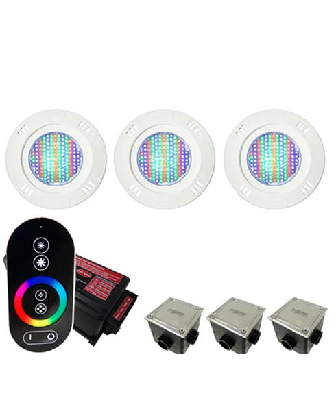 Kit Iluminação para Piscinas de até 24m² (3 Led 9w RGB - SMD  - 3 Caixas de Passagem Tampa Inox - 1 Controle c/ Comando de Luminárias Led Touch)