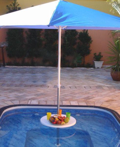 Mesa Plástica com tubo 1 1/2´´ em inox com encaixe para ombrelone