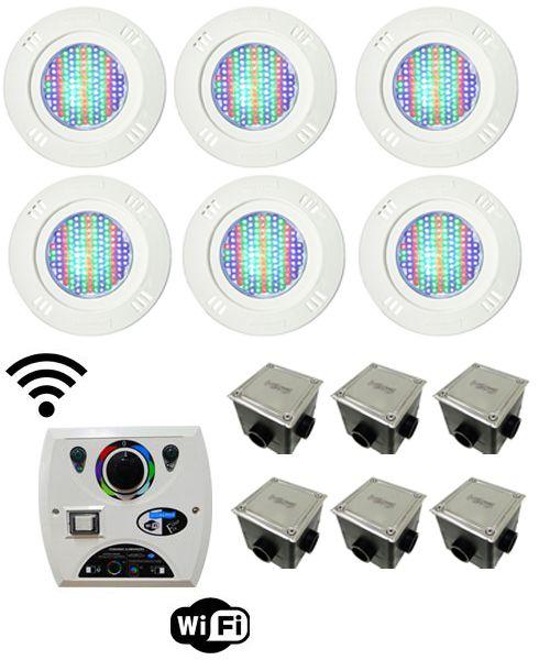 Kit Iluminação para Piscinas de até 48m² (6 Led Pool 61 RGB Pratic - 6 Caixas de Passagem Tampa Inox - 1 Comando Four Fix c/ Wi-Fi para Led )