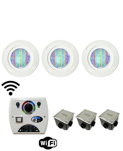 Kit Iluminação para Piscinas de até 24m² (3 Led Pool 61 RGB Pratic - 3 Caixas de Passagem Tampa Inox - 1 Comando Four Fix c/ Wi-Fi para Led )