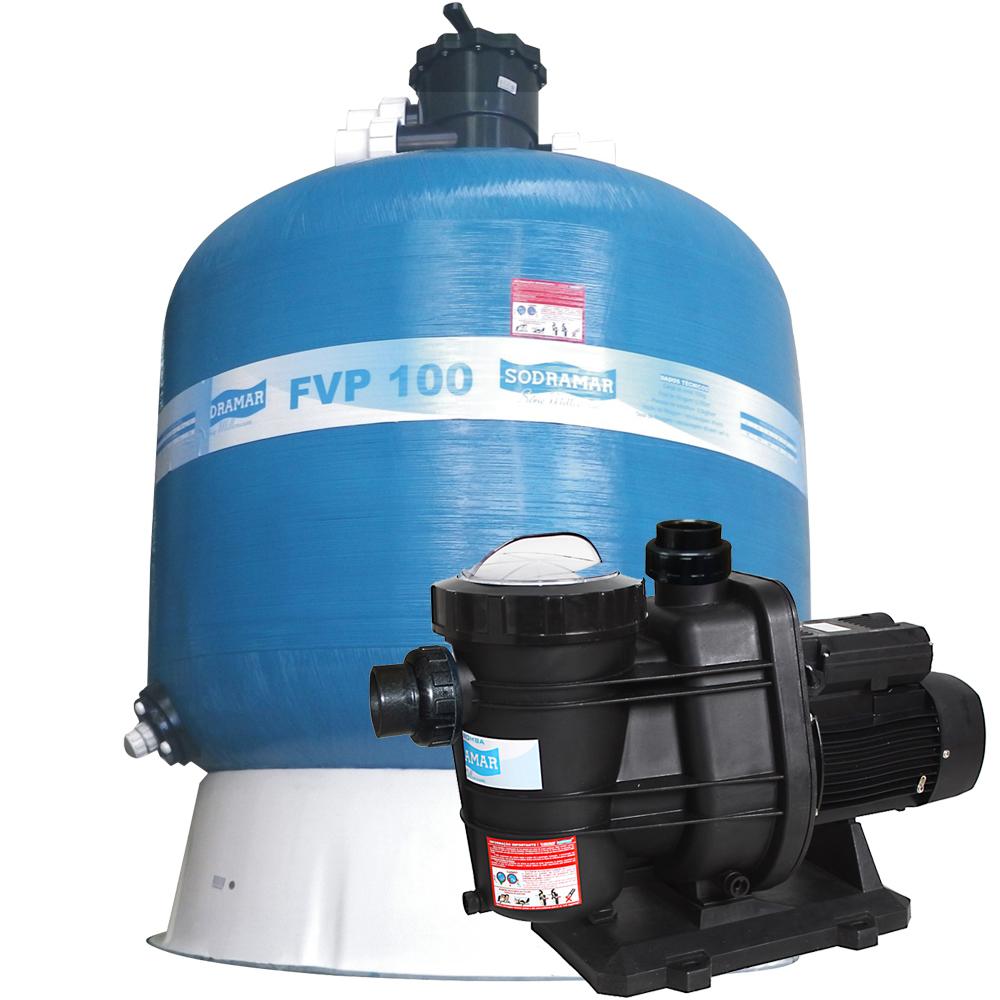 Filtro fvp 100 com areia e bomba 2cv bms 200 mono p for Filtro natural para piscina