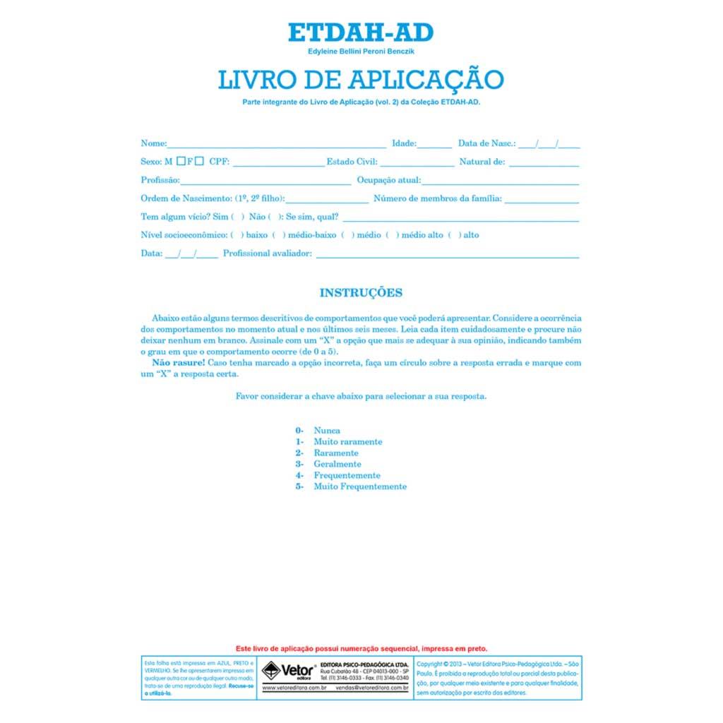 ETDAH-AD Livro de Aplicação